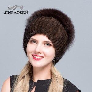 Image 5 - JINBAOSEN Womens winter mink fur hat real silver fox fur warm ski cap natural fur knit fur cap brand fashion Russian style