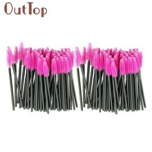 100 teile/los machen up pinsel Rosa kunstfaser One-Off Einweg Wimpern Pinsel Mascara Applikator Pinsel jan10(China)