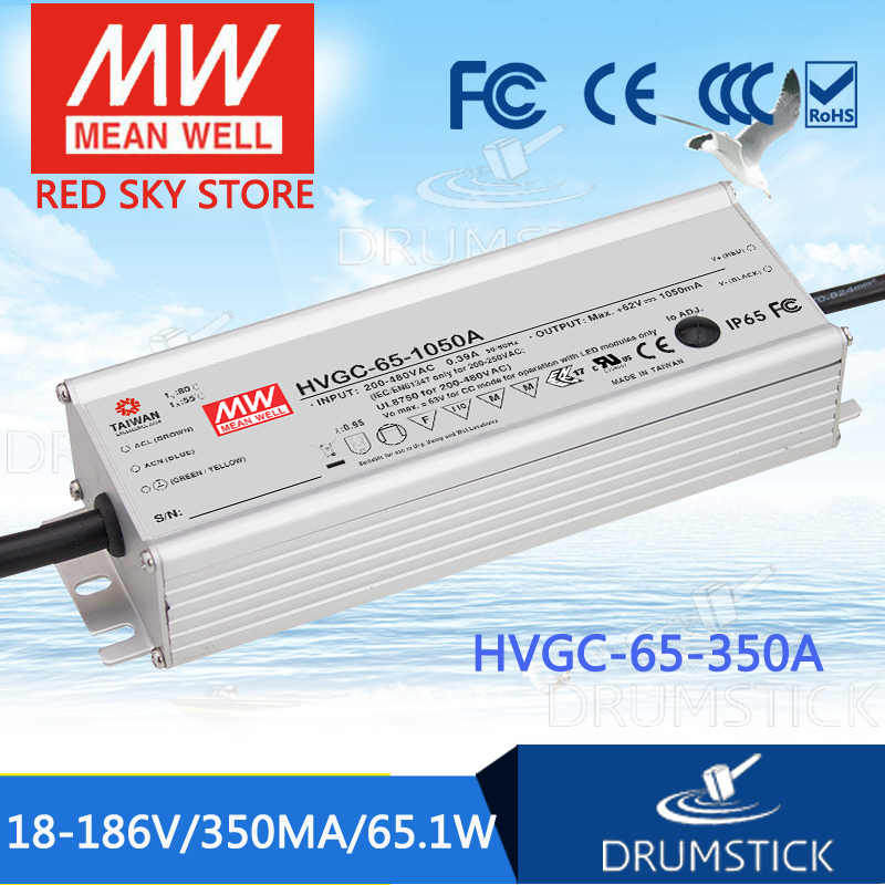 MEAN WELL HVGC-65-350A 18 ~ 186V 350mA meanwell HVGC-65 65.1W Single Output LED Driver Power Supply A Type mean well hvgc 150 350a 42 428v 350ma meanwell hvgc 150 149 8w singleoutput led driver power supply a type