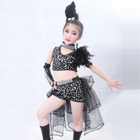New Children Sequined Feather Modern Jazz Dance Costumes For Girls Ballroom Dress Competition Hip Hop Dance