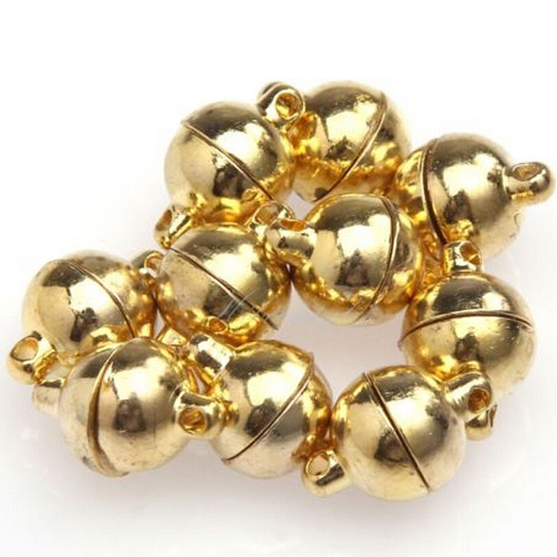 10Pcs 6mm 8mm Sliver Gold Jewelry Bracelet Necklace Round Beads Magnetic Clasp DIY Connectors Accessories Making Fittings