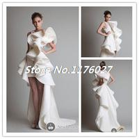 Hot Sale 2014 Krikor Jabotian Scoop Short Front Long Back Sheath Wedding Dress Knee Length Organza
