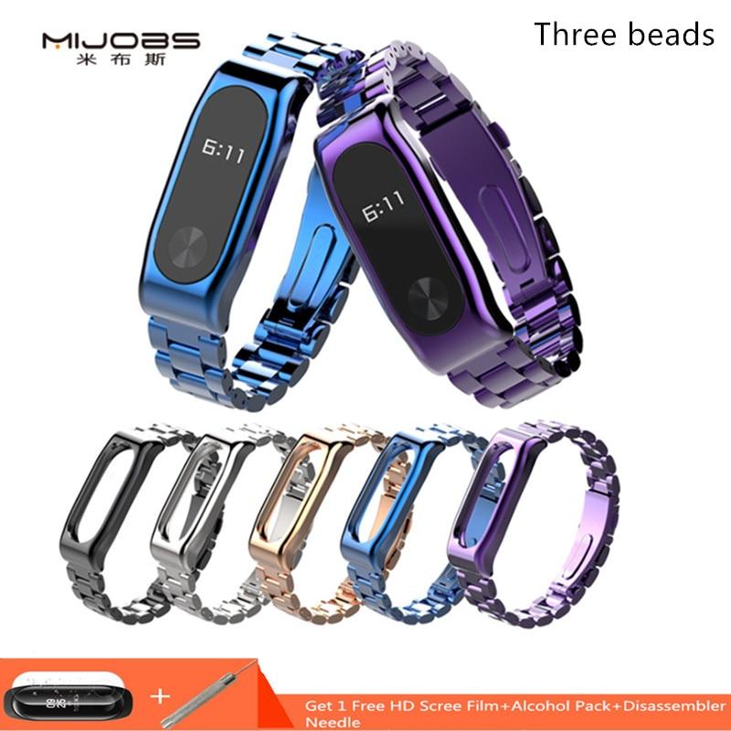 Mijobs  Mi Band 2 Strap Metal Bracelet Smart Band Accessories For Xiaomi Mi Band 2