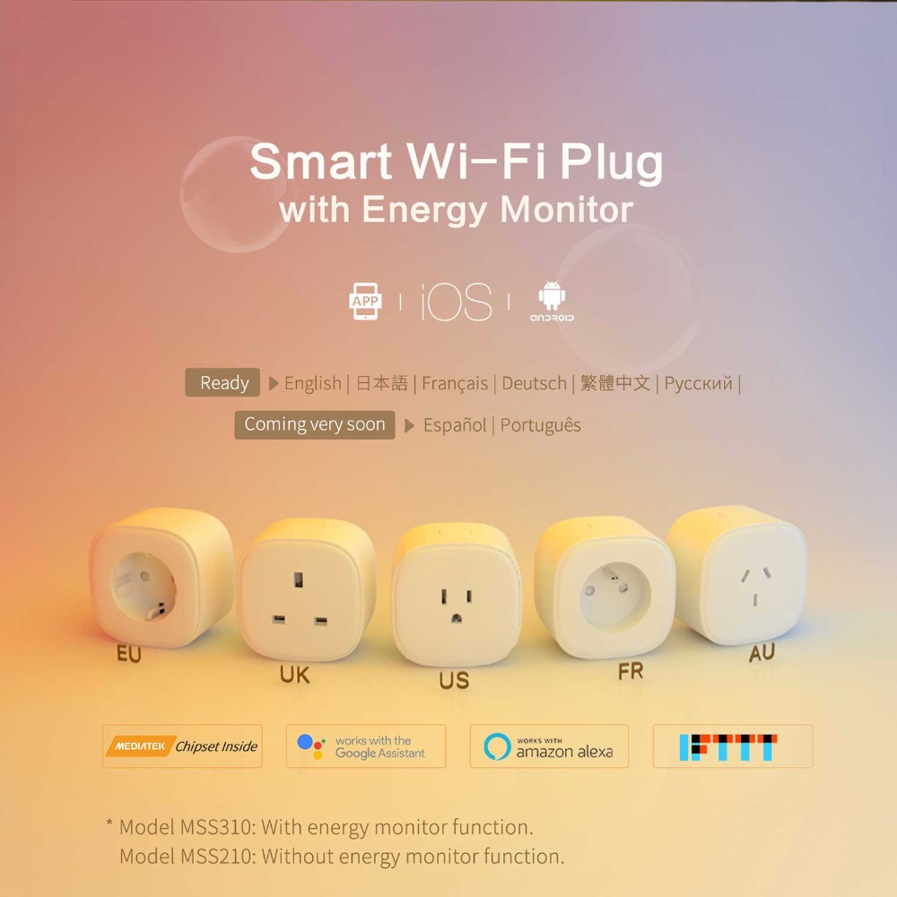 Smart WiFi Plug,Alexa & Google Assistant & IFTTT Supported, App Remote Control 4 Pack Meross MSS210/MSS310 EU/US/UK/FR Standard-in Smart Power Socket Plug from Consumer Electronics    2