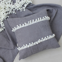 2017 New High Quality Grey/Yellow Pillows With Pom Pom For Living Room Car Decoration Creative Cushions Home Textile Almofadas