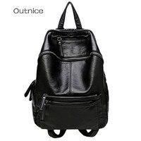 Fashion Brand Black Leather Backpack Youth Women School Backpacks For Teenage Girls Soft Strap College Knapsack