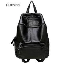 2017 OUTNICE марка рюкзак женский черная мягкая искусственная кожа рюкзаки для девочек подростков,рюкзак школьный,рюкзак для ноутбука горячая распродажа
