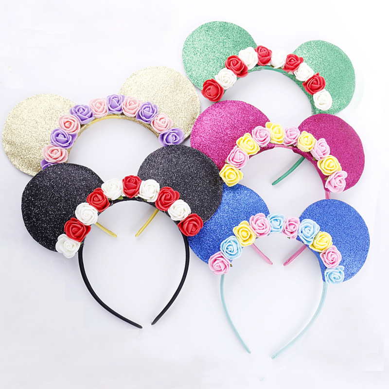 2017 New Cute Mickey Ears Flowers Hairband Headband Hoop for Girls Adult Hair Ornaments Headwear Fashion Women Hair Accessories shanfu women zebra stripe sinamay fascinator feather headband fashion lady hair accessories blue sfc12441