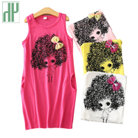 HH Kids Dresses For Girls Summer Princess Costume Cartoon Sleeveless Dress Bow Teenagers Dress Children Clothing