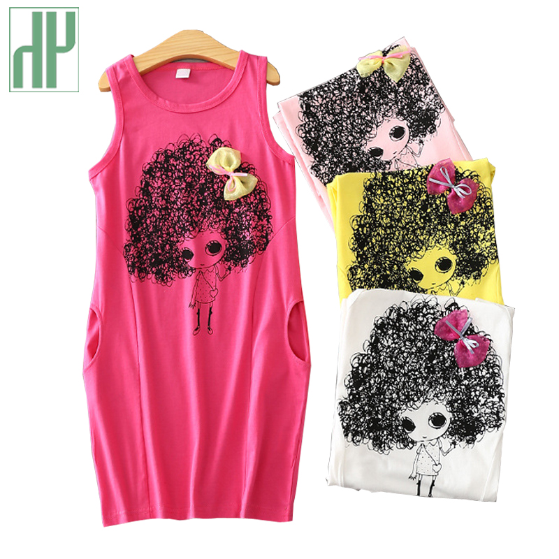 4-12 years kids dresses for girls Summer Princess Costume Cartoon Sleeveless Dress Bow teenagers dress children clothing HH summer cartoon castle sleeveless girls print dress knee length princess a line dress clothes for kids 6 to 12 years old kids