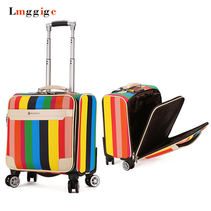 New Fashion 20/24 Inch Trolley Boarding Case ABS + PC Kleurrijke Reizen Waterdichte Bagage Set Rollende Koffer Spinner Doos - 4