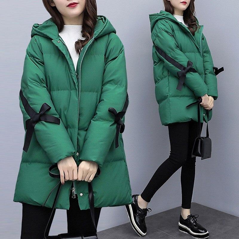 En Décontracté Veste Manteau Rembourré Hiver Arc Lâche Noir Chaud De Femmes Casaco Mode Coton Parkas Feminino vert qvCwRxC