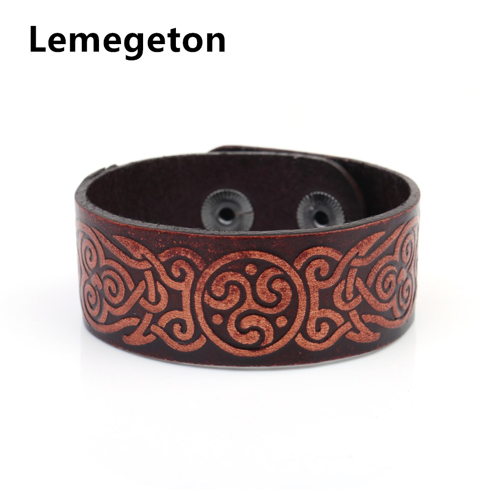 Lemegeton Wicca Badge Handmade Red Wide Studded Cuff Wristband Men's  Leather Bracelet Jewellery Genuine Leather Bracelets