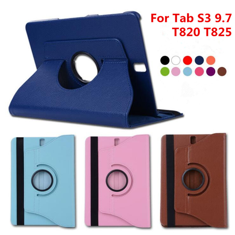 For Samsung Galaxy Tab S3 9.7 inch T820 T825 T829 SM-T820 SM-T825 TabS3 9.7 Tablet Case 360 Rotating Bracket Flip Leather Cover чехол для для мобильных телефонов brand new samsung galaxy s 3 i9300 s3 siii 9300 flip case for samsung galaxy s3 s 3 siii i9300