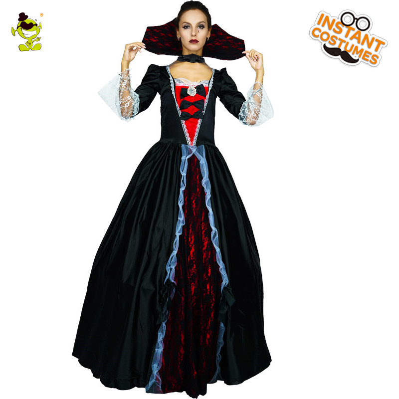 Deluxe Medieval Gothic Vampiress Costumes Adult Women Halloween Party Gorgeous Gothic Vampire&Bloodsucker Cosplay Fancy Dress