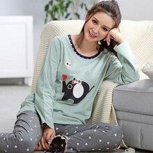Pajamas For Women Spring And Autumn Long-sleeve Nightshirt Cotton Pullover Sleep Wearing Women lounge Pajama Set