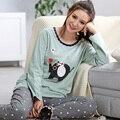 Pijamas Para Mujer Primavera Y Otoño Camisón De Algodón de manga Larga Pullover Sleep Vistiendo Mujeres Pijama Conjunto de salón