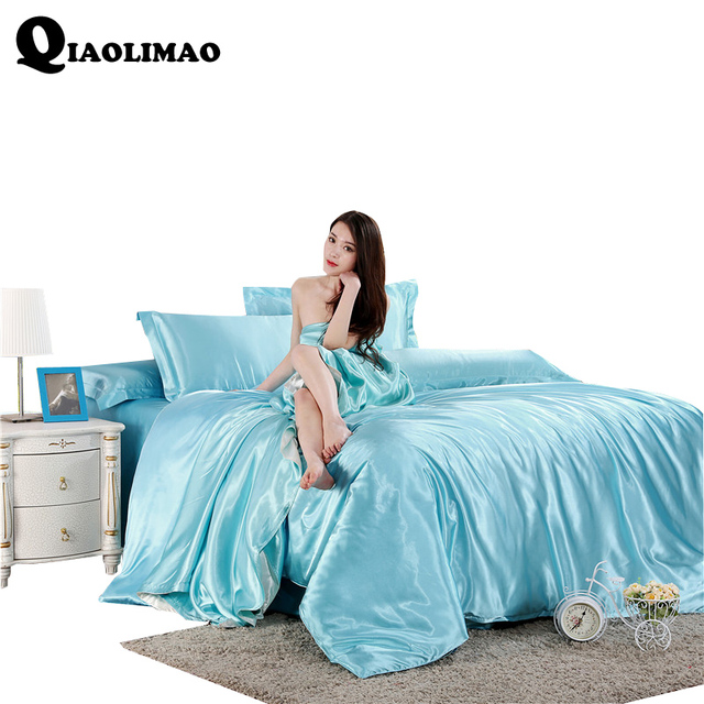 New Solid Color Satin Faux Silk Grey Bedding Set Duvet Cover Set Silky Bed  Cover 3