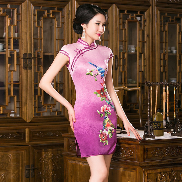 Women Vintage Slim Spring Summer Traditional Chinese Dress Cheongsam Qipao Short Silk Cheongsams for Women