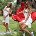 The New 2016 Summer Casual Wear White Letters Printed Solid Color Small Fresh And Lovely Party Dress Sleeveless Dress