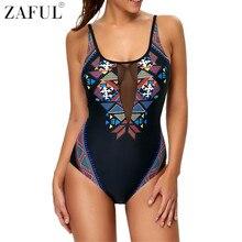 2017  sexy women one piece swimwear geometric pattern high cut swimsuit mesh patchwork monokini bathing suit bodysuit