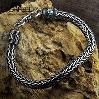 GAGAFEEL Genuine 100 Real Pure 925 Sterling Silver Men Bracelets Hemp Rope Vintage Handmade Thai Silver