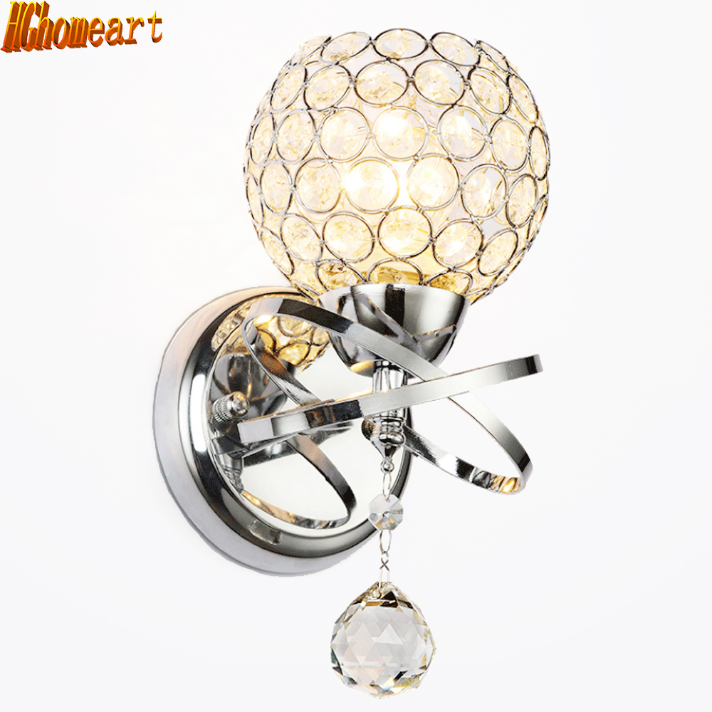 Modern Minimalist Crystal Lamp Fashion Simple Living Room Sconce Bedroom Bedside Wall Lamp E27 Hotel Aisle Lighting Fixtures round crystal lamp bedroom bedside lamp wall lamp simple modern personality aisle led living room wall