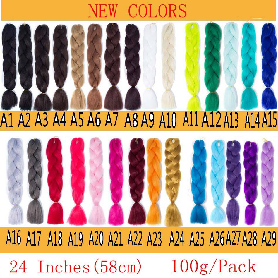LISI HAIR Ombre Kanekalon Jumbo Braids Synthetic Braiding Hair 60Color Available 100g 24Inch Hair Extension Red Green 1pce (1) -