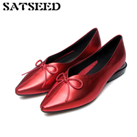 Giày 2018 Mùa Thu Toe Nhọn Da Chính Hãng Gót Thấp Bơm Ladies Giày Da Chống Trượt Dress Red Bơm Mắt Cá Chân cho phụ n