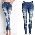 Winter Autumn Women Fashion Jeans High Waist Slim Holes Ripped Casual Ladies Long Jeans Sexy Skinny Pencil Hole Softener Pants