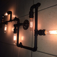 40W Iron painted Vintage Wall light lamp water pipe wall lights including 5*E27 bulbs Black or Bronze color