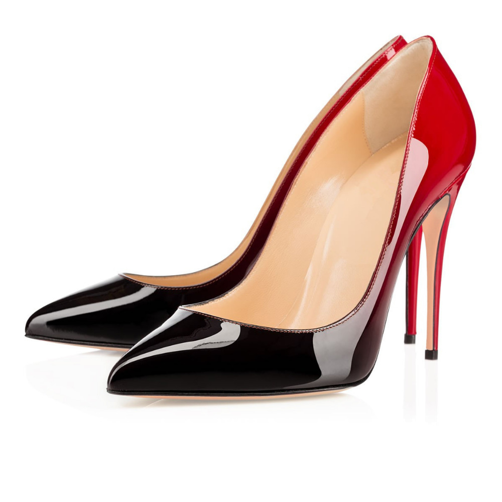 c33b4ca9a5440 Amourplato Women s High Heel Pumps Pointed Toe 100mm Closed Toe Gradient  Color Slip On Party Evening Dress Shoes Red Black -in Women s Pumps from  Shoes on ...