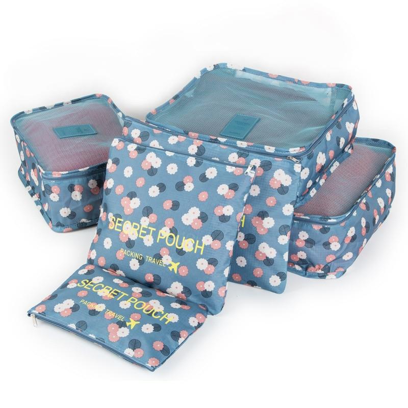 Verpakking Cubes 6 stks / set Reizen Opbergtas bagage slechte Organizer Koffer Thuis Garderobe kast kast Container Organizer D-75