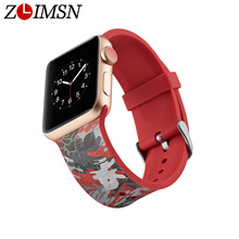 ZLIMSN Watch Band Color Chart Silicone Sport strap For Apple iWatch1/2/3/4 Printing Strap Sports Edition