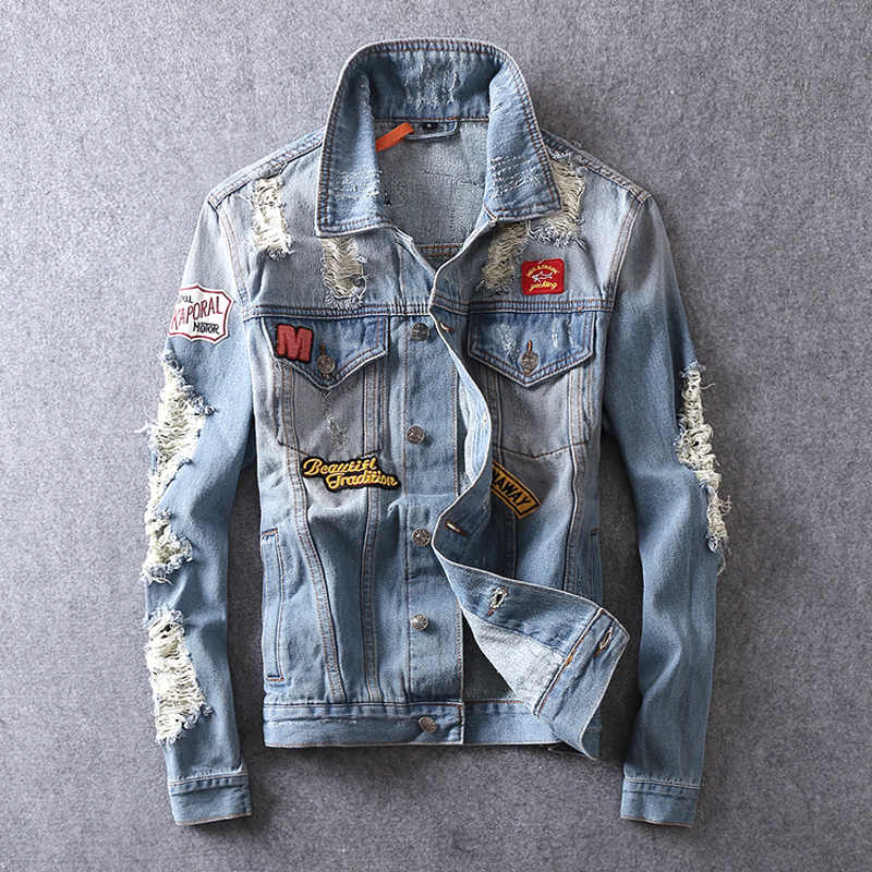 Amerykańska Streetwear moda męska kurtka jasnoniebieskie łatki łączone zniszczone kurtka dżinsowa mężczyźni płaszcz marki bluzy hip-hopowe hombre