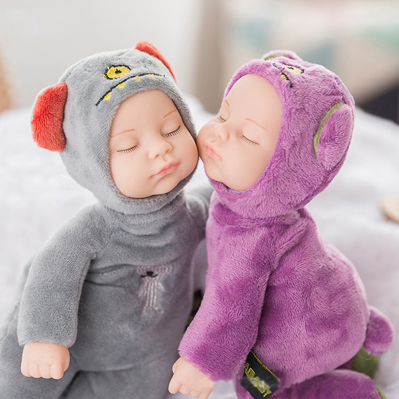 25CM Mini Stuffed Born Doll Toys For Children Silicone Reborn Alive Babies Lifelike Kids Toys Sleep Reborn Doll For Kid Toy