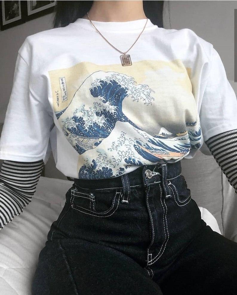 New Fashion T-shirts for Women Harajuku Tops Summer Short Sleeve Tees Great Wave T Shirt Camiseta White & 90s