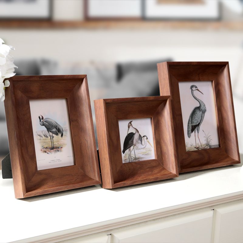 4 Inch 6 Inch 7 Inch Vintage Picture Frame For Home Decor Wooden Color Picture Frame Baby Photo