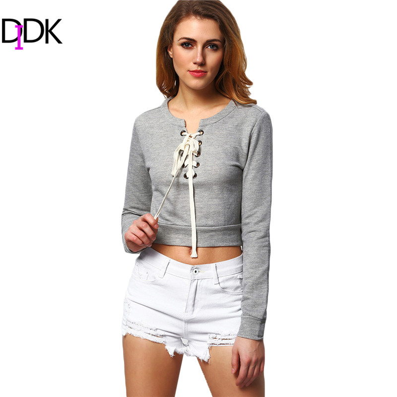 DIDK 2016 Womens Pullover Autumn Lace Cropped Sweatshirt Ladies Plain Grey Long Sleeve Lace-up Crop Hoodies - Official Store store