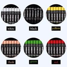 Bâtonnets de Pastels à lhuile colorée monochromes, 24 pièces/ensemble 7 couleurs, forme ronde, bâtonnets de Pastel, ensemble de couleur unique, papeterie scolaire