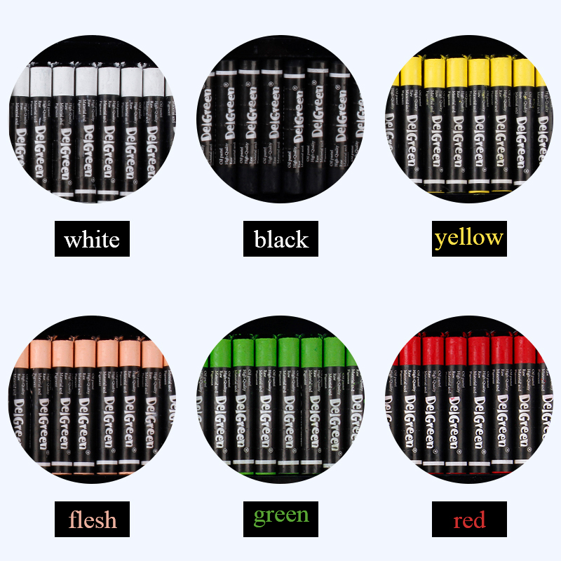 Monochrome Heavy Colorful Oil Pastels 24Pcs/Set 7 Colors Round Shape Oil Pastel Crayon Sticks Single Color Set School Stationery