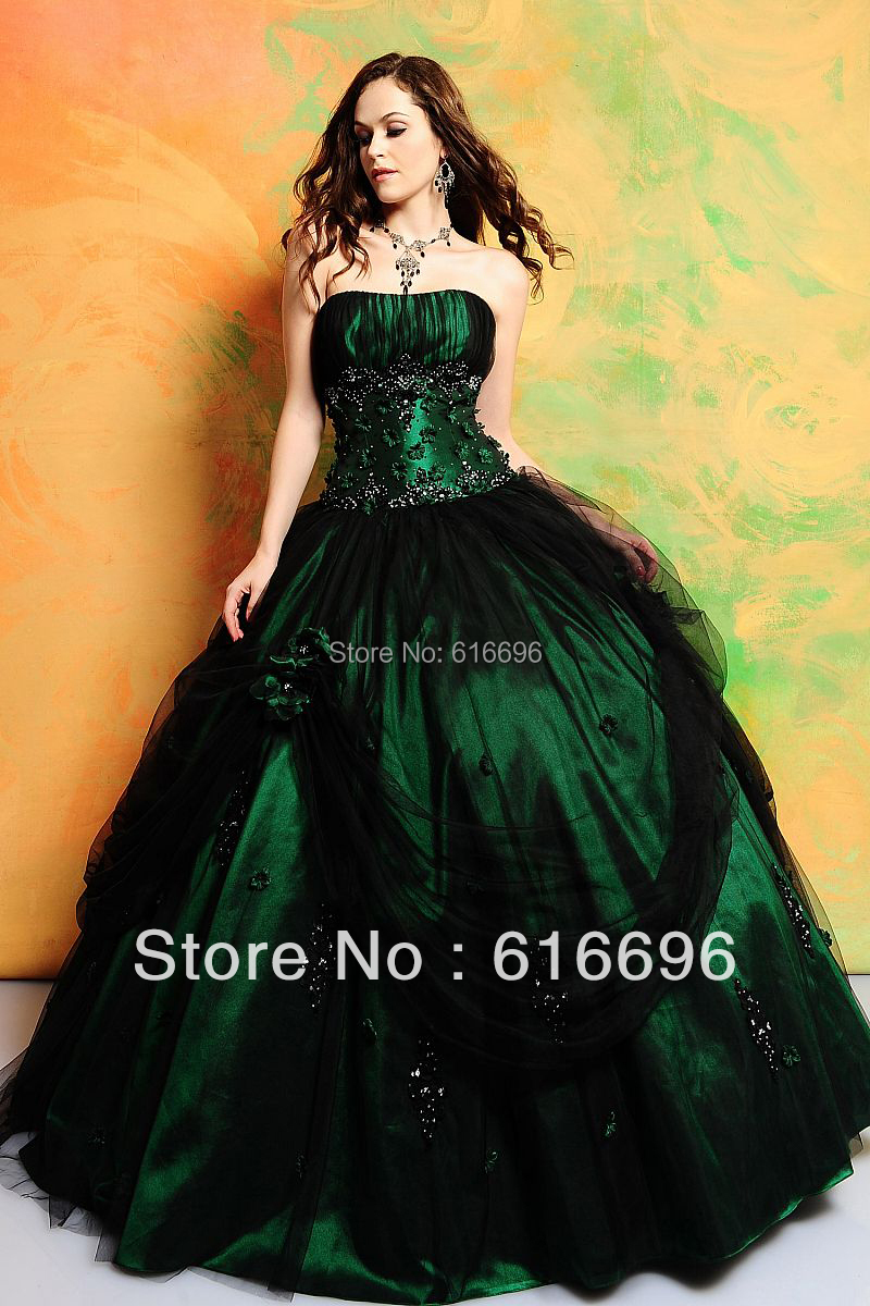 Mysterious Emerald Ball Gown Ruched Corset Sequins Beaded Flower ...