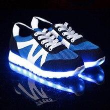 แฟชั่นนำรองเท้าส่องสว่างคนรักแฟชั่นผู้ชายผู้หญิงรองเท้าUSB light upรองเท้าสำหรับผู้ใหญ่เรืองแสงแฟลต7c02