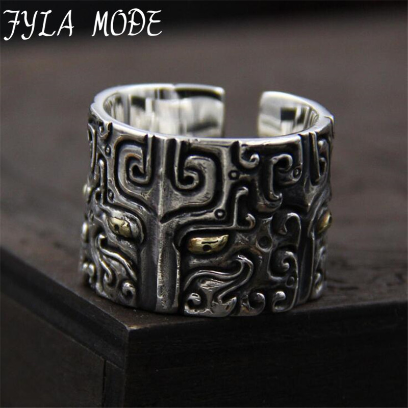Thai Silver Personality Retro Style Ring Ring Domineering Carved Gluttonous men's 100% Sterling Silver 925 Jewelry 19mm Width