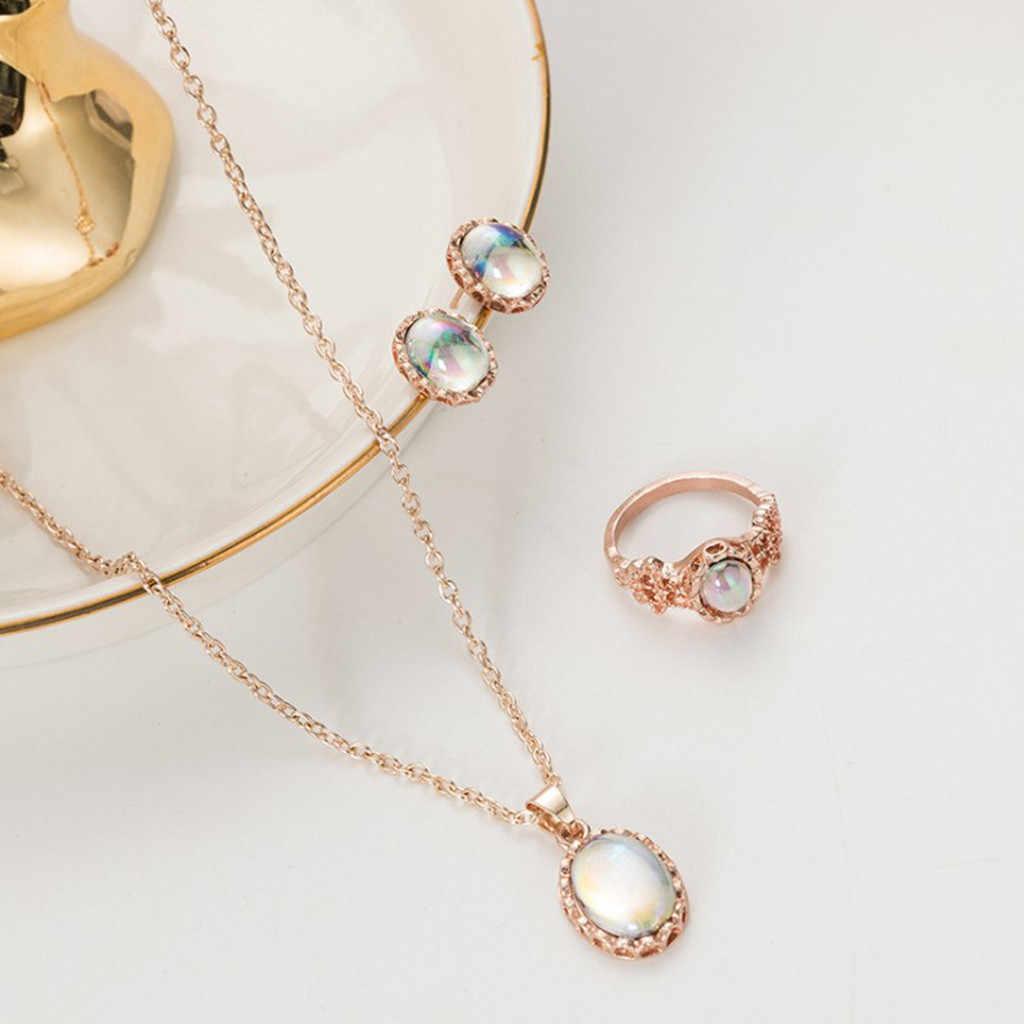 אופנתי בר אופל תכשיטי סטים לאישה תליון שרשראות קולר מים Drop עגילים & טבעת זהב צבע בוהמיה תכשיטי חתונה