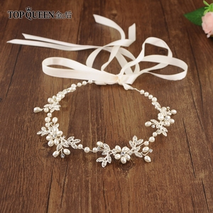 Image 1 - TOPQUEEN HP152 ślubne dla nowożeńców z pałąkiem na głowę opaska do włosów Tiara dla kobiet Rhinestone pereł stop kwiat biżuteria akcesoria do włosów