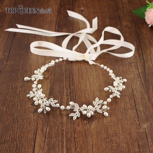 TOPQUEEN HP152 ślubne dla nowożeńców z pałąkiem na głowę opaska do włosów Tiara dla kobiet Rhinestone pereł stop kwiat biżuteria akcesoria do włosów