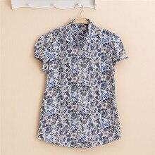New Casual Shirt Short Sleeve Blouse Women Summer Blouses Tops Chemise Women Flower Blouse Short Sleeve