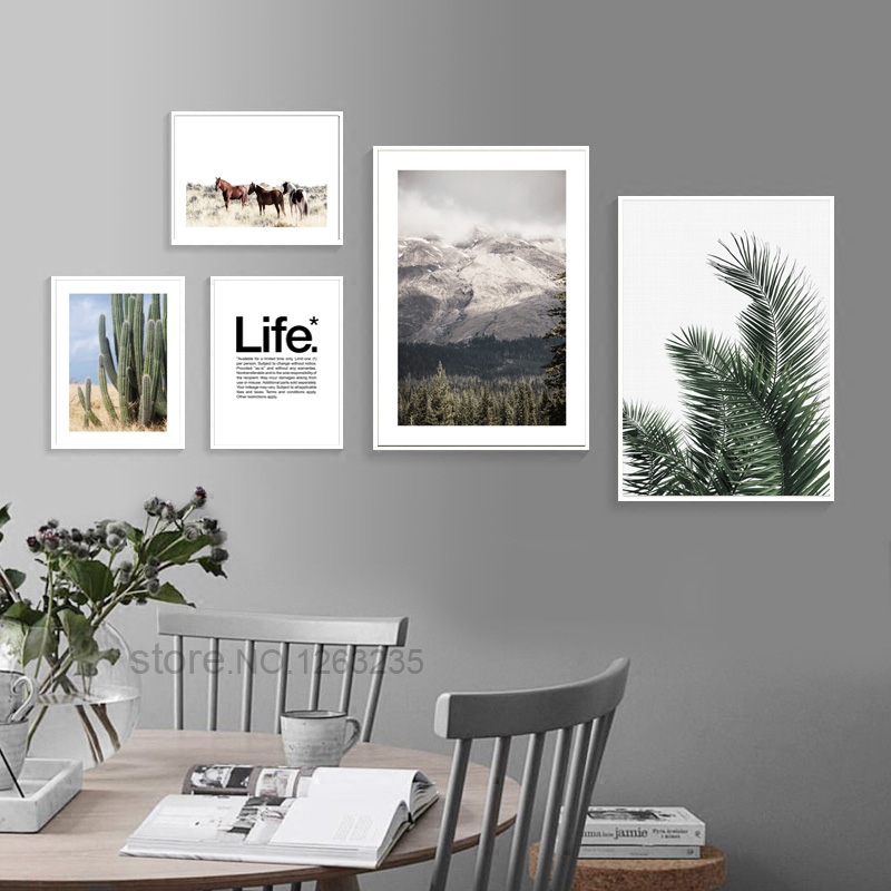 Cactus woestijn landschap Nordic Poster planten Posters en afdrukken Wall Art Canvas schilderij muur foto's voor woonkamer Unframed