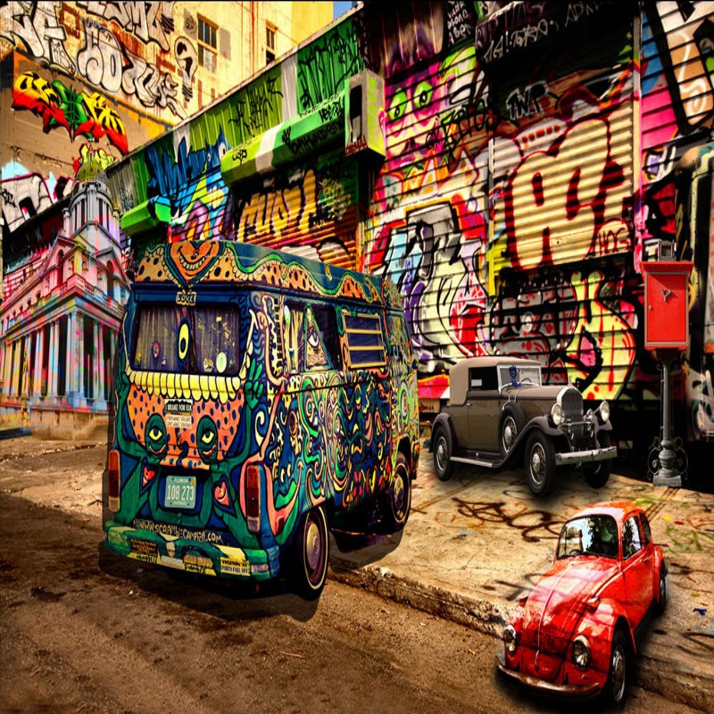 Photo Wallpaper 3D Hip Hop Style Graffiti Bus Mural